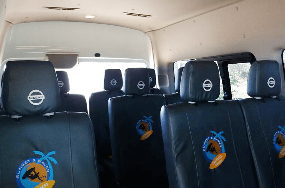 Inside Tropical Tours Shuttle bus