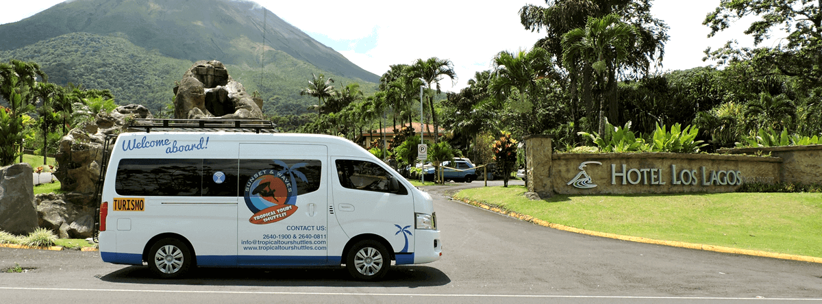 Shuttle Bus departing from Arenal