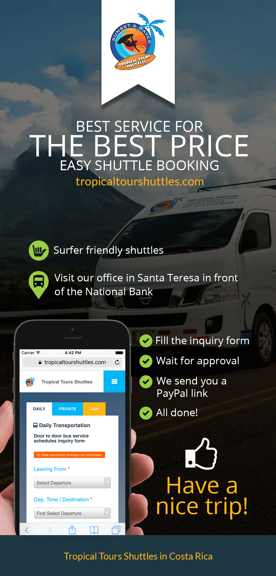 Tropical Tours Shuttles Booking Infographic